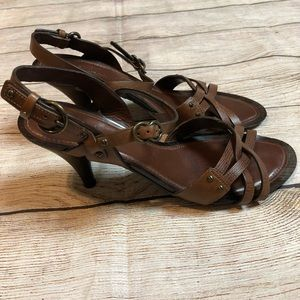 Cole Haan Brown Leather Strappy Heels Sz 8.5